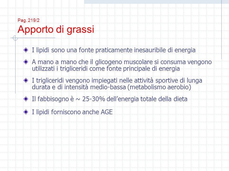 Pag. 219/2 Apporto di grassi I lipidi sono una fonte praticamente inesauribile di energia A mano a mano che il glicogeno muscolare si consuma vengono