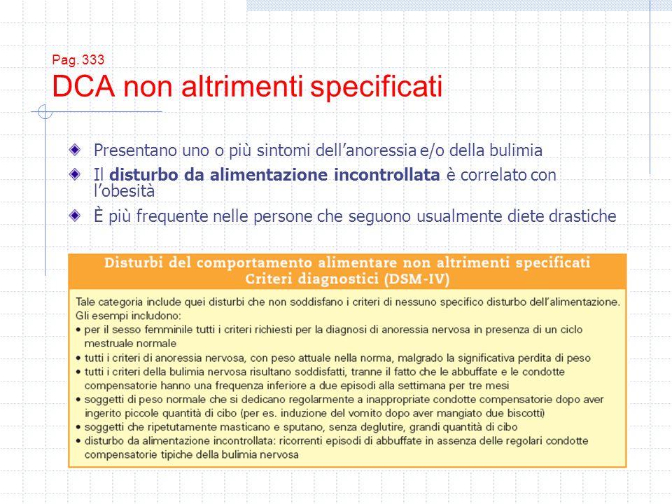 Pag. 333 DCA non altrimenti specificati Presentano uno o più sintomi dellanoressia e/o della bulimia Il disturbo da alimentazione incontrollata è corr