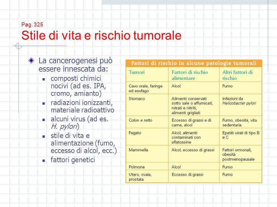Pag. 325 Stile di vita e rischio tumorale La cancerogenesi può essere innescata da: composti chimici nocivi (ad es. IPA, cromo, amianto) radiazioni io