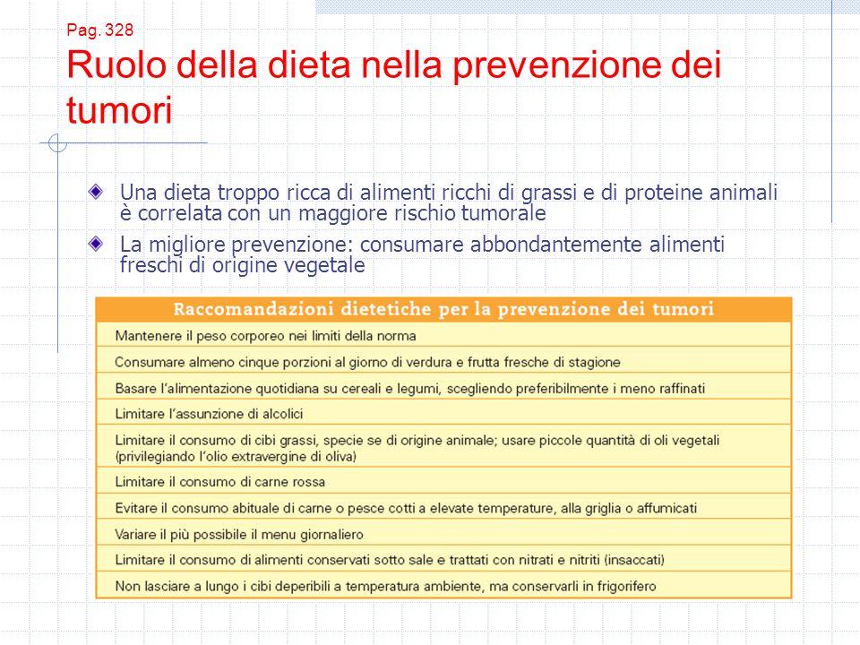 Pag. 328 Ruolo della dieta nella prevenzione dei tumori Una dieta troppo ricca di alimenti ricchi di grassi e di proteine animali è correlata con un m