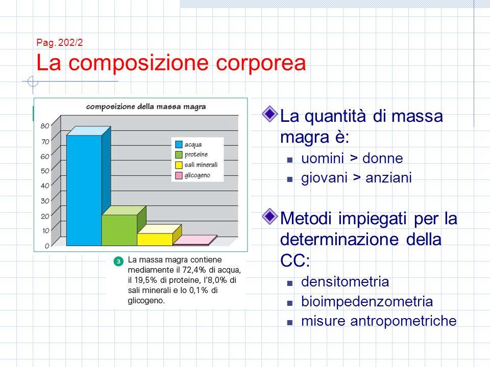 Pag. 202/2 La composizione corporea La quantità di massa magra è: uomini > donne giovani > anziani Metodi impiegati per la determinazione della CC: de