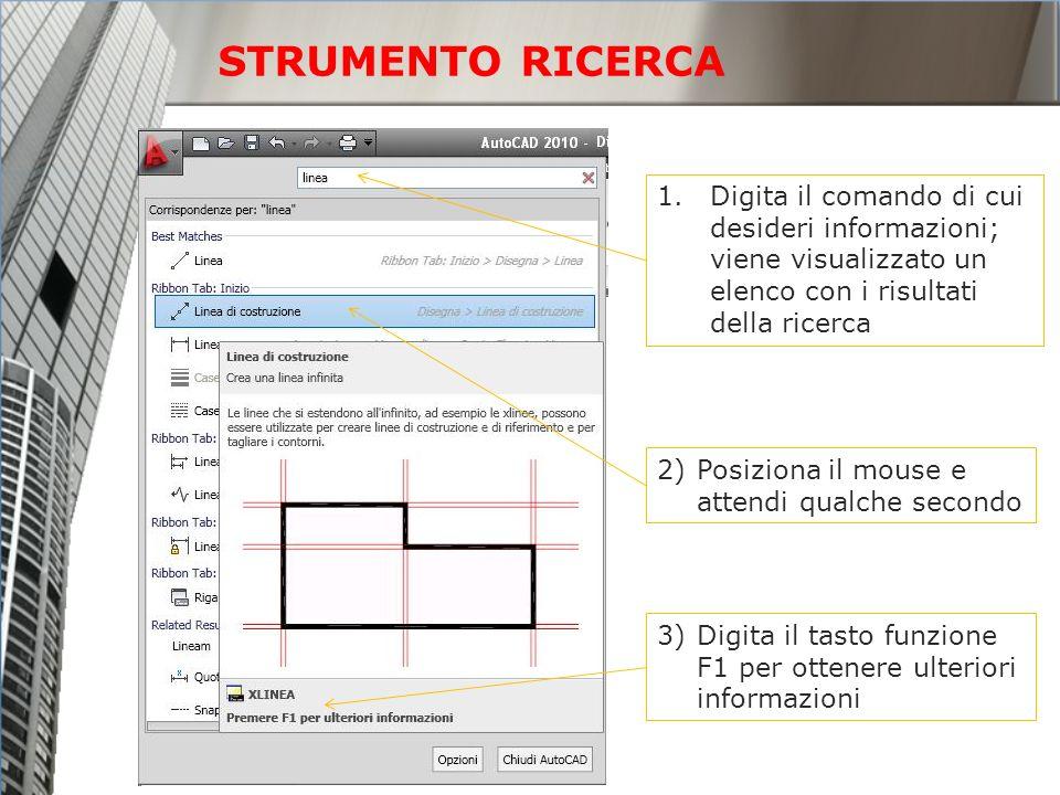 1.Digita il comando di cui desideri informazioni; viene visualizzato un elenco con i risultati della ricerca 2)Posiziona il mouse e attendi qualche se
