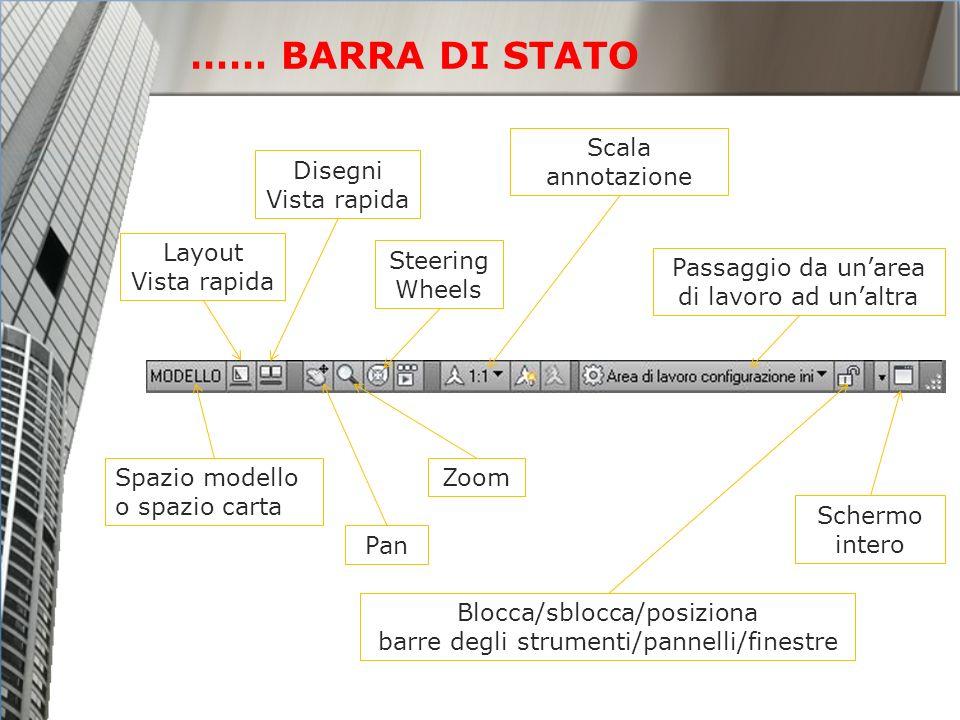 …… BARRA DI STATO Spazio modello o spazio carta Layout Vista rapida Disegni Vista rapida Pan Zoom Scala annotazione Steering Wheels Passaggio da unare