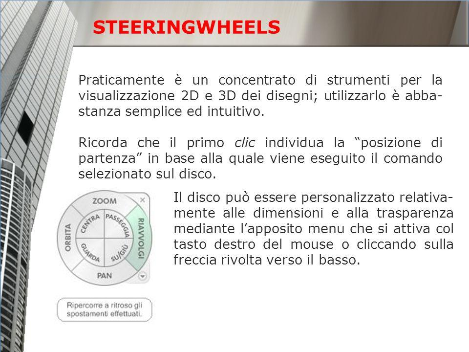 STEERINGWHEELS Praticamente è un concentrato di strumenti per la visualizzazione 2D e 3D dei disegni; utilizzarlo è abba- stanza semplice ed intuitivo.