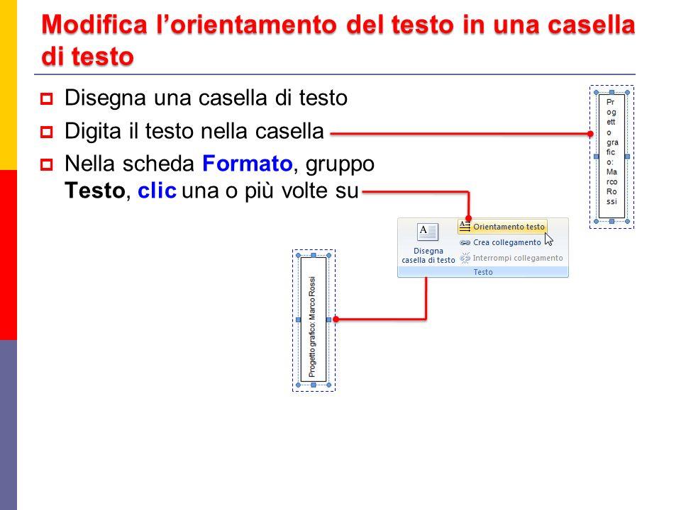 Modifica lorientamento del testo in una casella di testo Disegna una casella di testo Digita il testo nella casella Nella scheda Formato, gruppo Testo, clic una o più volte su