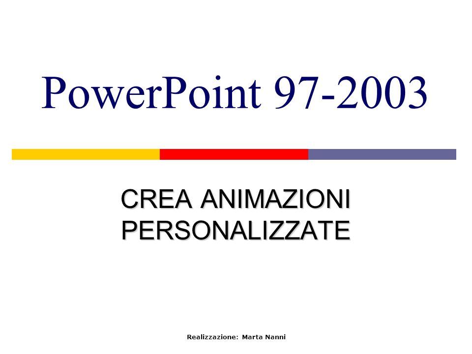 PowerPoint 97-2003 CREA ANIMAZIONI PERSONALIZZATE Realizzazione: Marta Nanni