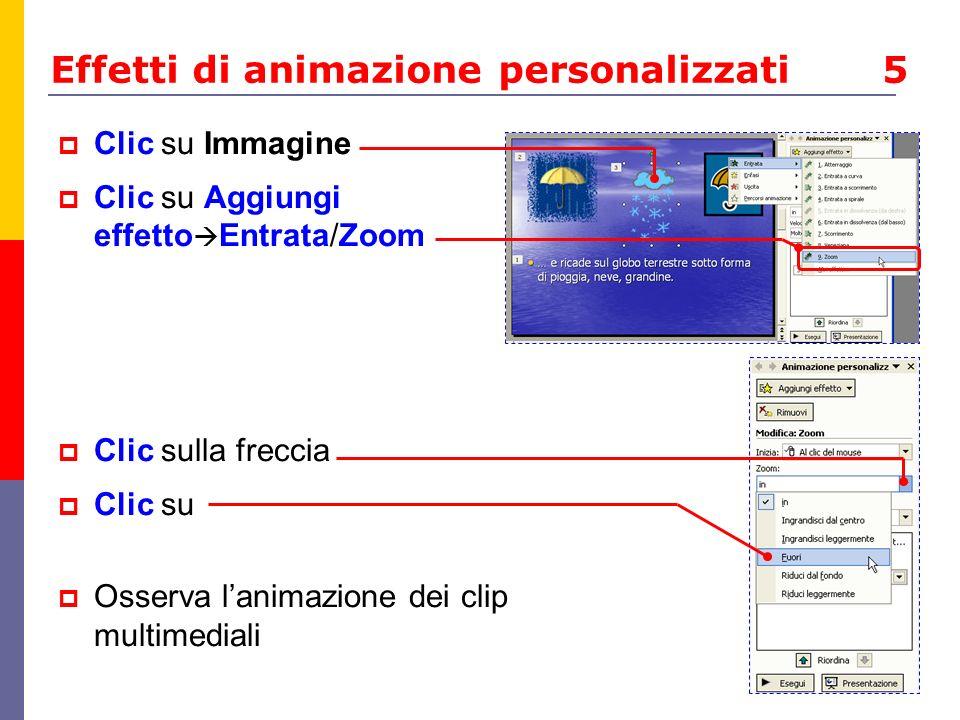 Effetti di animazione personalizzati 5 Clic su Immagine Clic su Aggiungi effetto Entrata/Zoom Clic sulla freccia Clic su Osserva lanimazione dei clip
