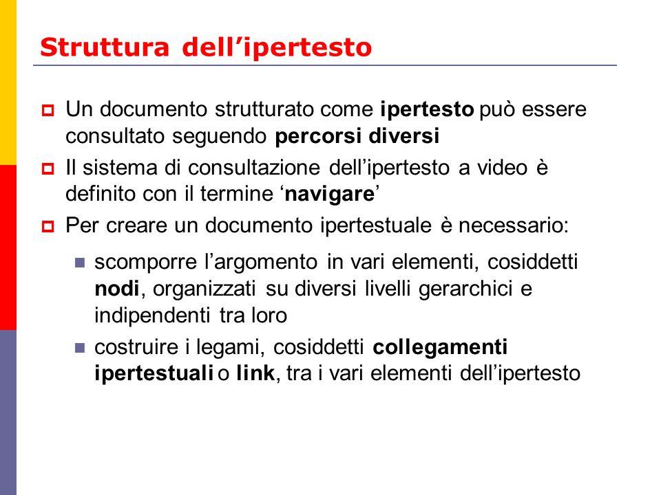 Gli elementi dellipertesto Il nodo può essere composto da poche righe, da una o più pagine, da unimmagine, da un filmato,...