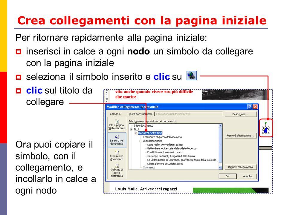 Crea collegamenti con la pagina iniziale Per ritornare rapidamente alla pagina iniziale: inserisci in calce a ogni nodo un simbolo da collegare con la