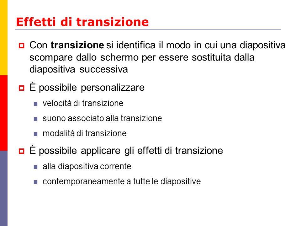 Effetti di transizione Con transizione si identifica il modo in cui una diapositiva scompare dallo schermo per essere sostituita dalla diapositiva suc