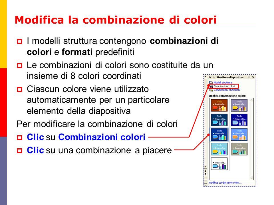 Modifica la combinazione di colori I modelli struttura contengono combinazioni di colori e formati predefiniti Le combinazioni di colori sono costitui