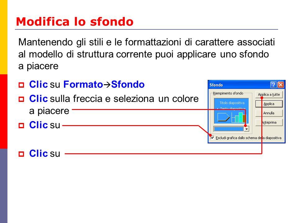 Modifica lo sfondo Clic su Formato Sfondo Clic sulla freccia e seleziona un colore a piacere Clic su Clic su Mantenendo gli stili e le formattazioni d