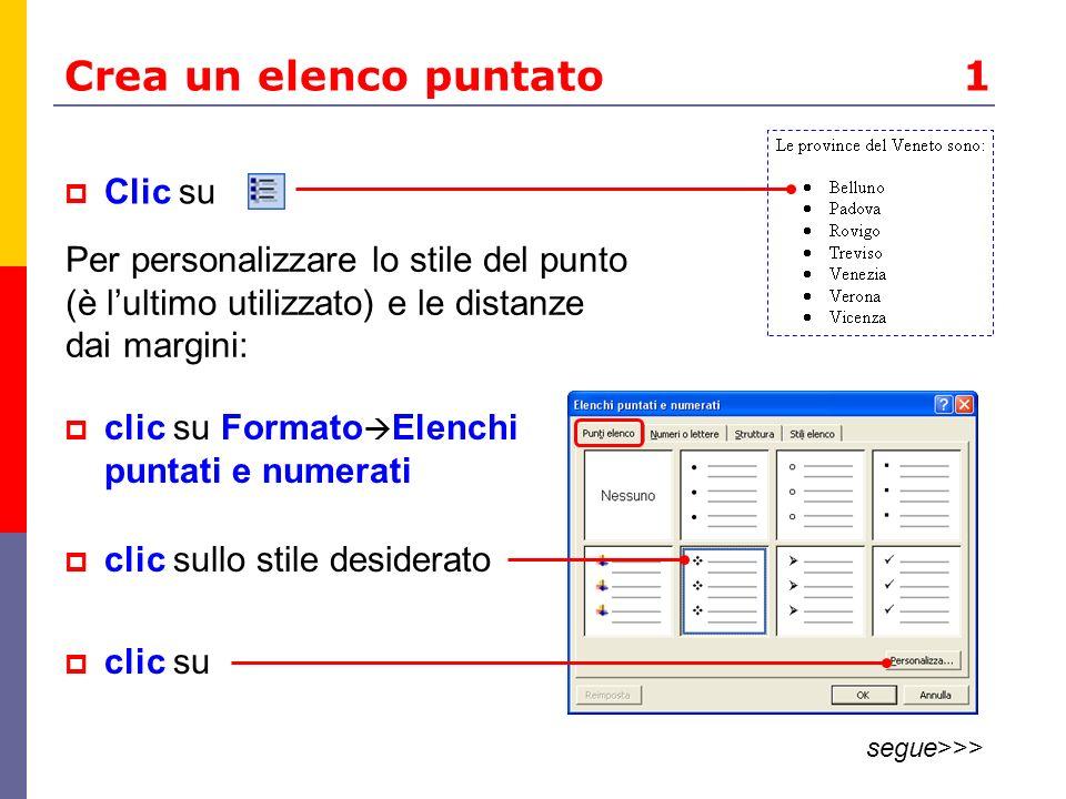 Crea un elenco puntato 1 Clic su Per personalizzare lo stile del punto (è lultimo utilizzato) e le distanze dai margini: clic su Formato Elenchi puntati e numerati clic sullo stile desiderato clic su segue>>>