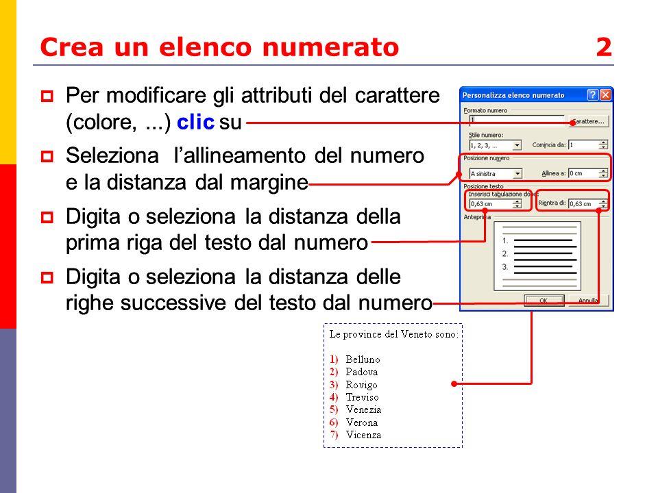 Ricorda Per rimuovere un elenco puntato o numerato, seleziona i paragrafi interessati e clic su o Se in un elenco numerato aggiungi, elimini o sposti elementi, la numerazione si aggiorna automaticamente Il comando di scelta rapida Maiusc+F3 modifica la combinazione di maiuscole/minuscole