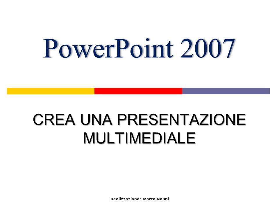 PowerPoint 2007PowerPoint 2007 CREA UNA PRESENTAZIONE MULTIMEDIALE Realizzazione: Marta Nanni