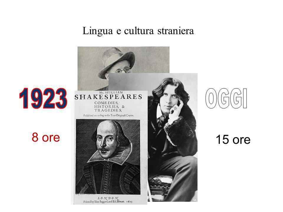 Lingua e cultura straniera 8 ore 15 ore