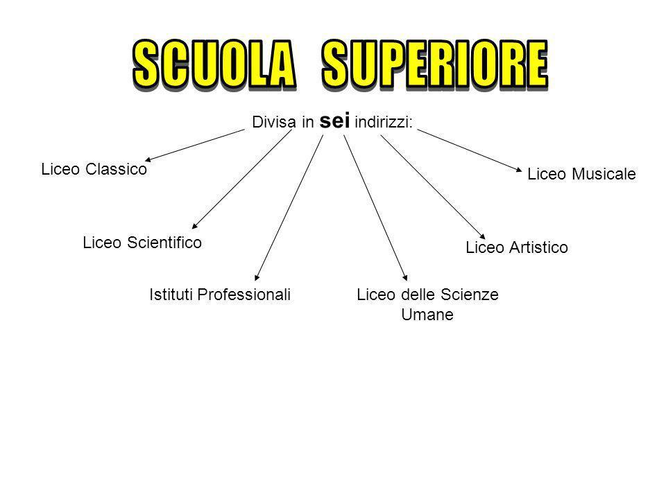 Divisa in sei indirizzi: Liceo Classico Liceo Scientifico Istituti ProfessionaliLiceo delle Scienze Umane Liceo Artistico Liceo Musicale