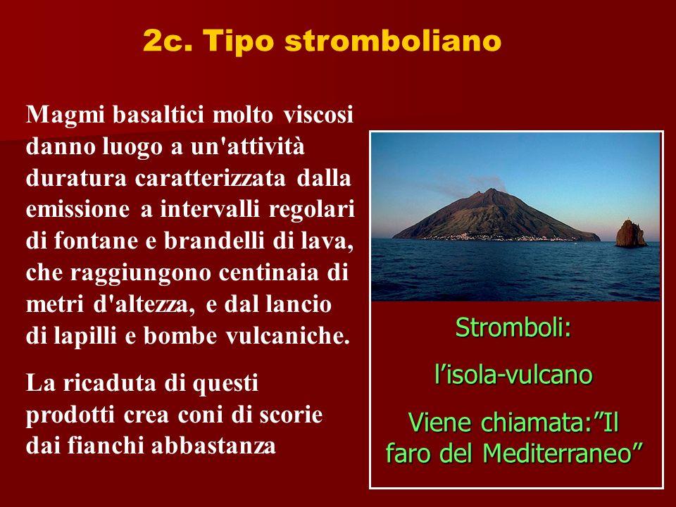 2c. Tipo stromboliano Magmi basaltici molto viscosi danno luogo a un'attività duratura caratterizzata dalla emissione a intervalli regolari di fontane