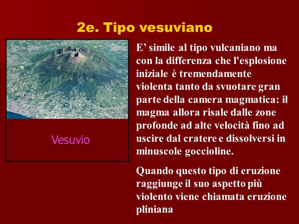 2e. Tipo vesuviano E simile al tipo vulcaniano ma con la differenza che l'esplosione iniziale è tremendamente violenta tanto da svuotare gran parte de