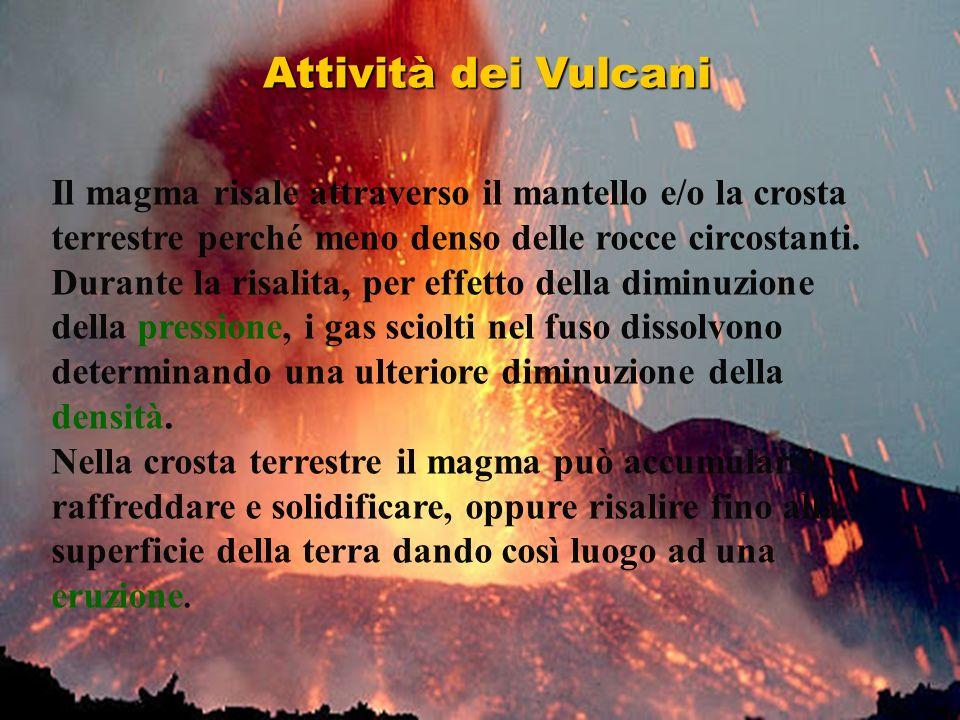 Il magma risale attraverso il mantello e/o la crosta terrestre perché meno denso delle rocce circostanti. Durante la risalita, per effetto della dimin