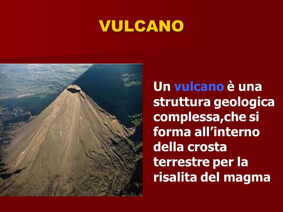 VULCANO Un vulcano è una struttura geologica complessa,che si forma allinterno della crosta terrestre per la risalita del magma