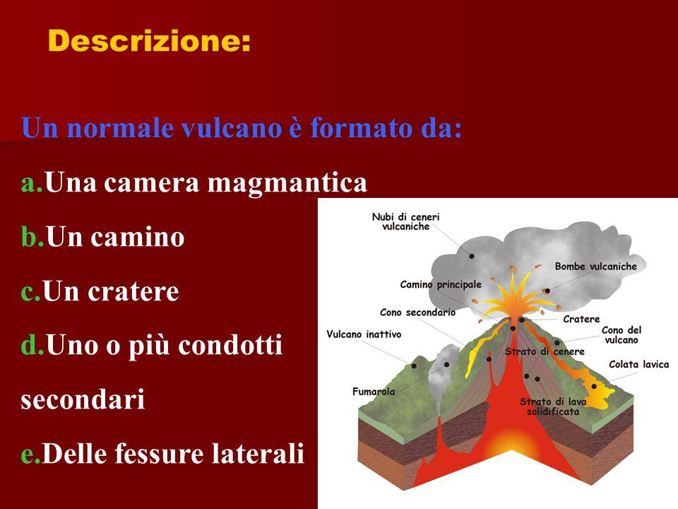 Descrizione: Un normale vulcano è formato da: a.Una camera magmantica b.Un camino c.Un cratere d.Uno o più condotti secondari e.Delle fessure laterali