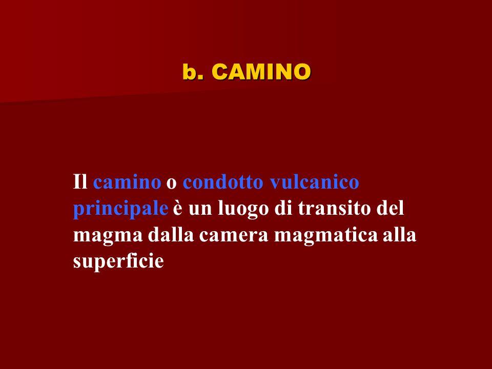 b. CAMINO Il camino o condotto vulcanico principale è un luogo di transito del magma dalla camera magmatica alla superficie