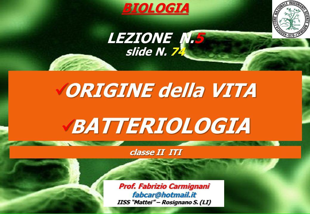 BIOLOGIA LEZIONE N.5 slide N. 74 ORIGINE della VITA ORIGINE della VITA B ATTERIOLOGIA B ATTERIOLOGIA Prof. Fabrizio Carmignani fabcar@hotmail.it IISS