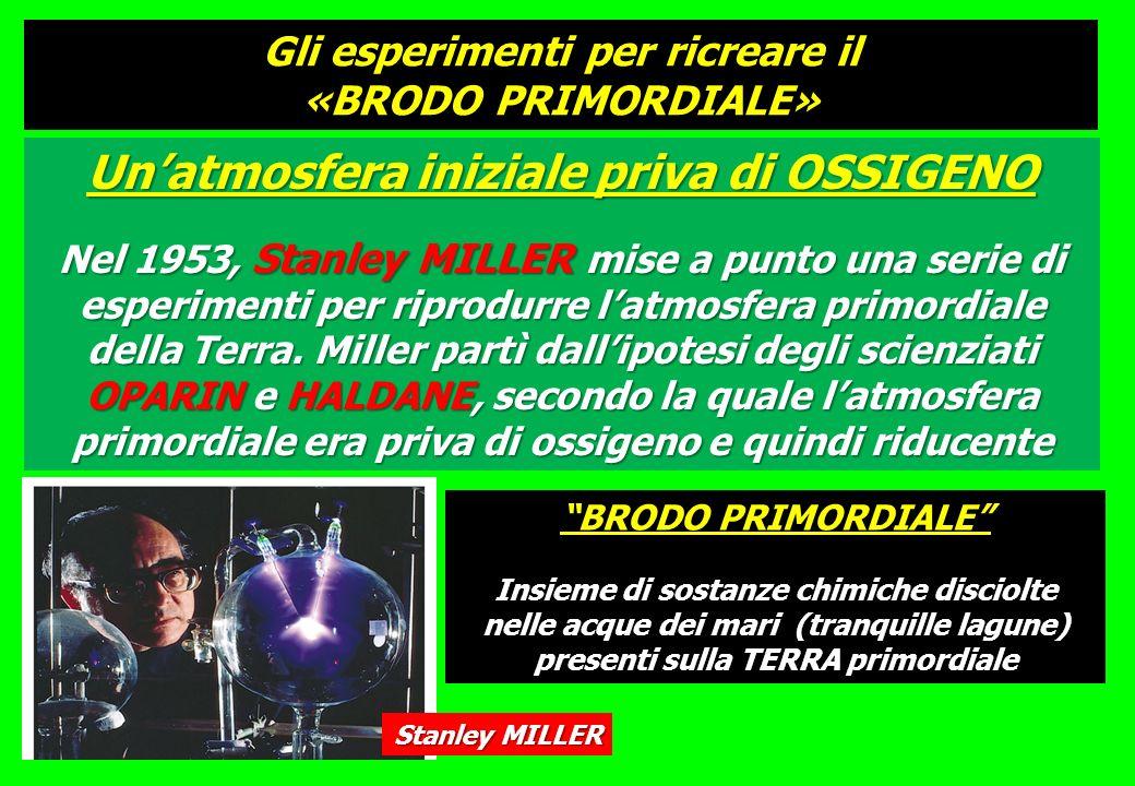 Unatmosfera iniziale priva di OSSIGENO Nel 1953, Stanley MILLER mise a punto una serie di esperimenti per riprodurre latmosfera primordiale della Terr