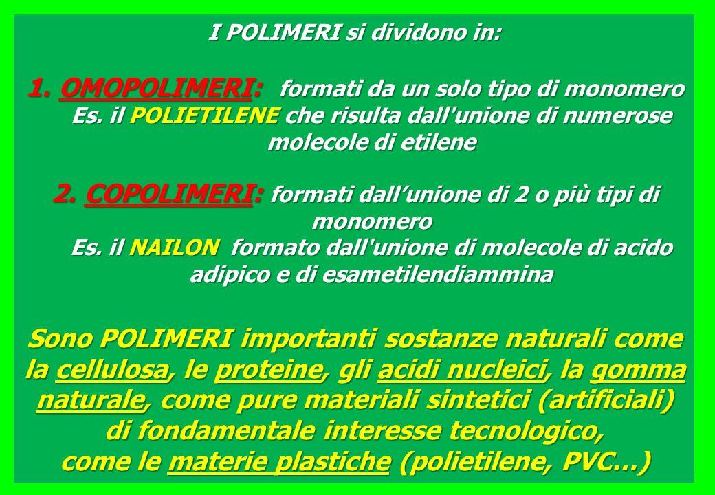 I POLIMERI si dividono in: 1.OMOPOLIMERI: formati da un solo tipo di monomero Es. il POLIETILENE che risulta dall'unione di numerose molecole di etile