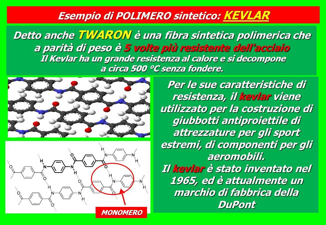 Detto anche TWARON è una fibra sintetica polimerica che a parità di peso è 5 volte più resistente dell acciaio Il Kevlar ha un grande resistenza al calore e si decompone a circa 500 °C senza fondere.