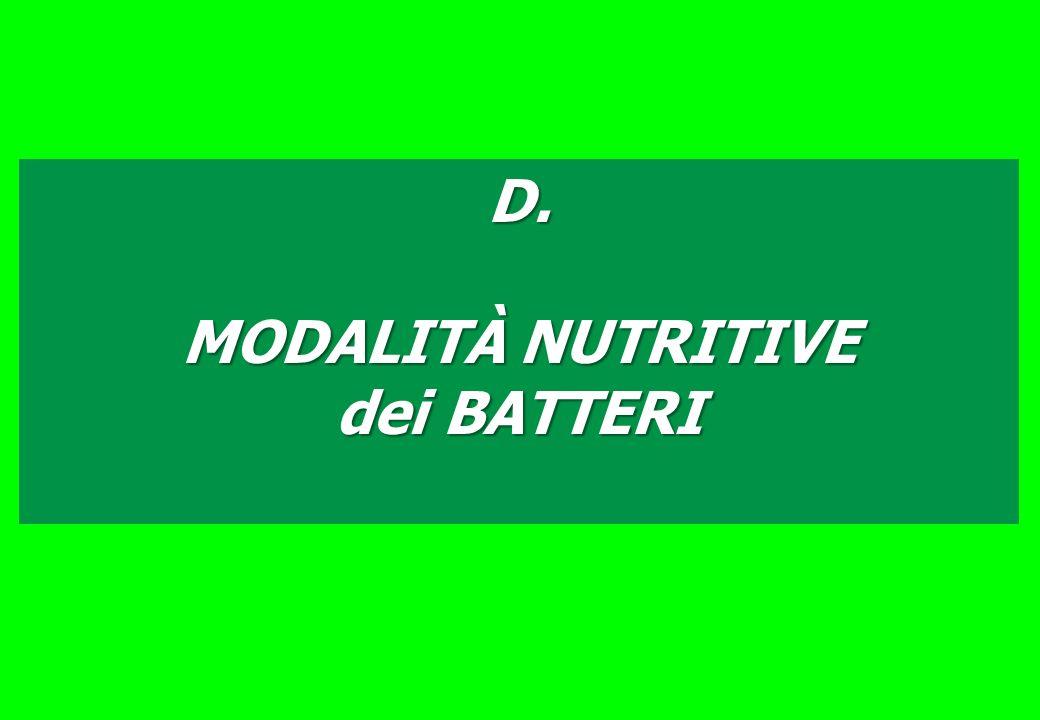 D. MODALITÀ NUTRITIVE dei BATTERI
