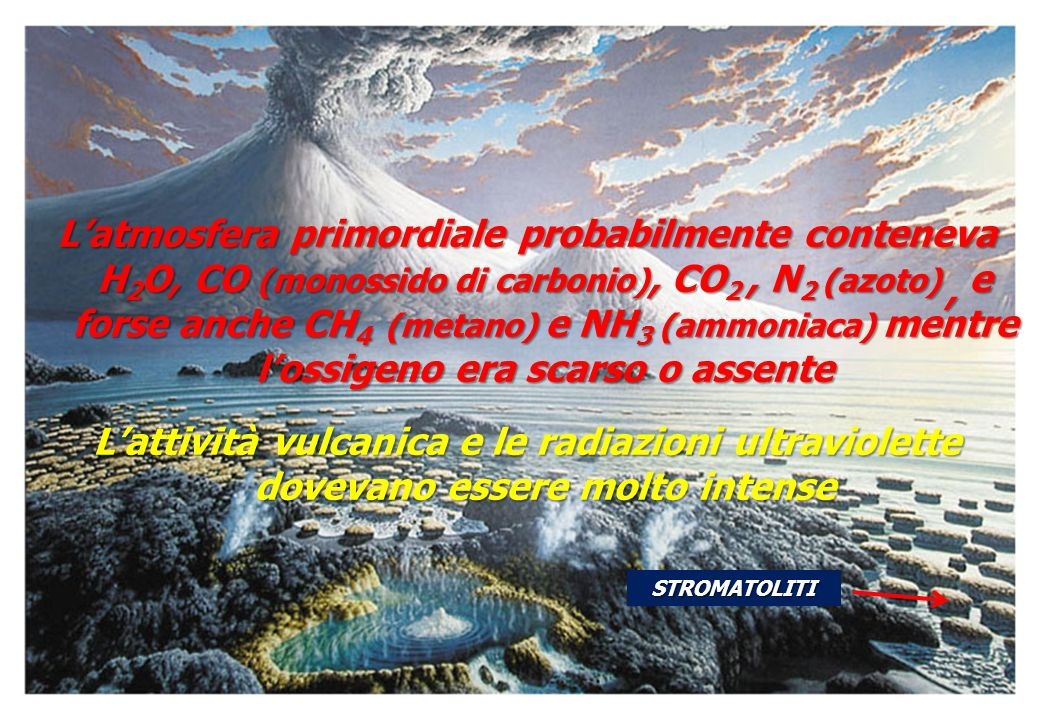 Latmosfera primordiale probabilmente conteneva H 2 O, CO (monossido di carbonio), CO 2, N 2 (azoto), e forse anche CH 4 (metano) e NH 3 (ammoniaca) me