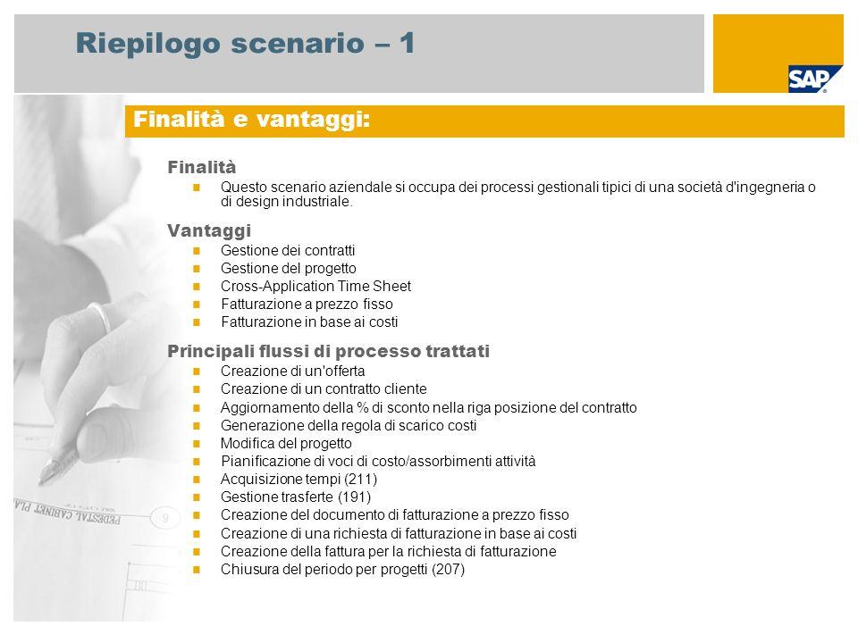Riepilogo scenario – 1 Finalità Questo scenario aziendale si occupa dei processi gestionali tipici di una società d'ingegneria o di design industriale