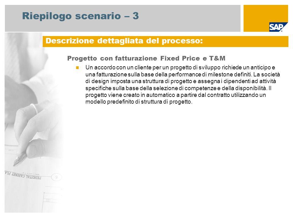 Riepilogo scenario – 3 Progetto con fatturazione Fixed Price e T&M Un accordo con un cliente per un progetto di sviluppo richiede un anticipo e una fa