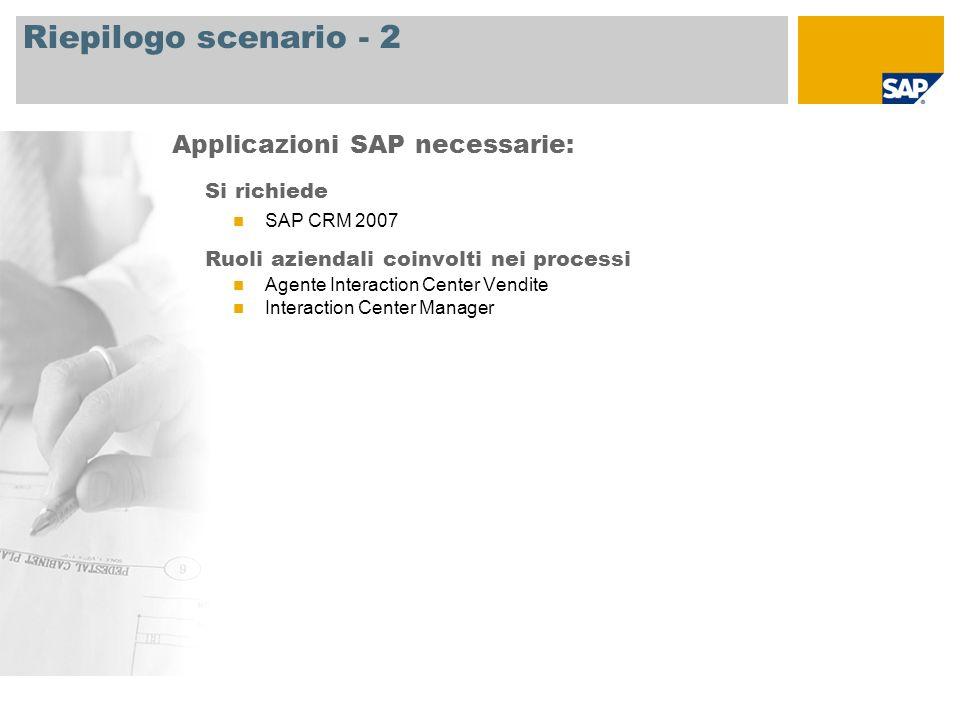 Riepilogo scenario - 2 Si richiede SAP CRM 2007 Ruoli aziendali coinvolti nei processi Agente Interaction Center Vendite Interaction Center Manager Ap
