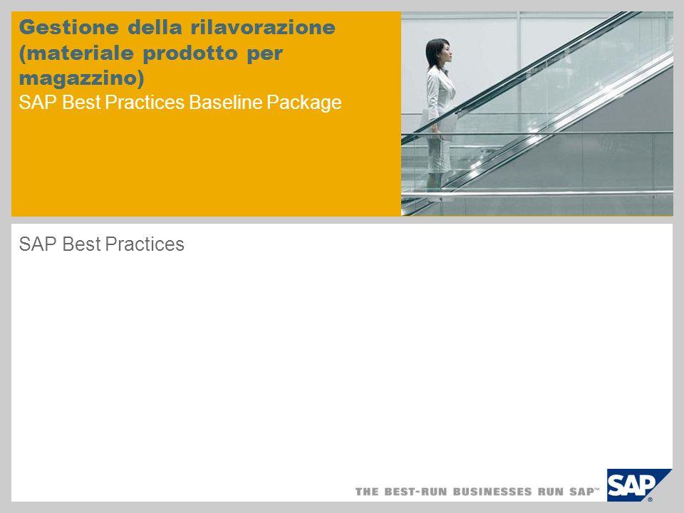 Gestione della rilavorazione (materiale prodotto per magazzino) SAP Best Practices Baseline Package SAP Best Practices