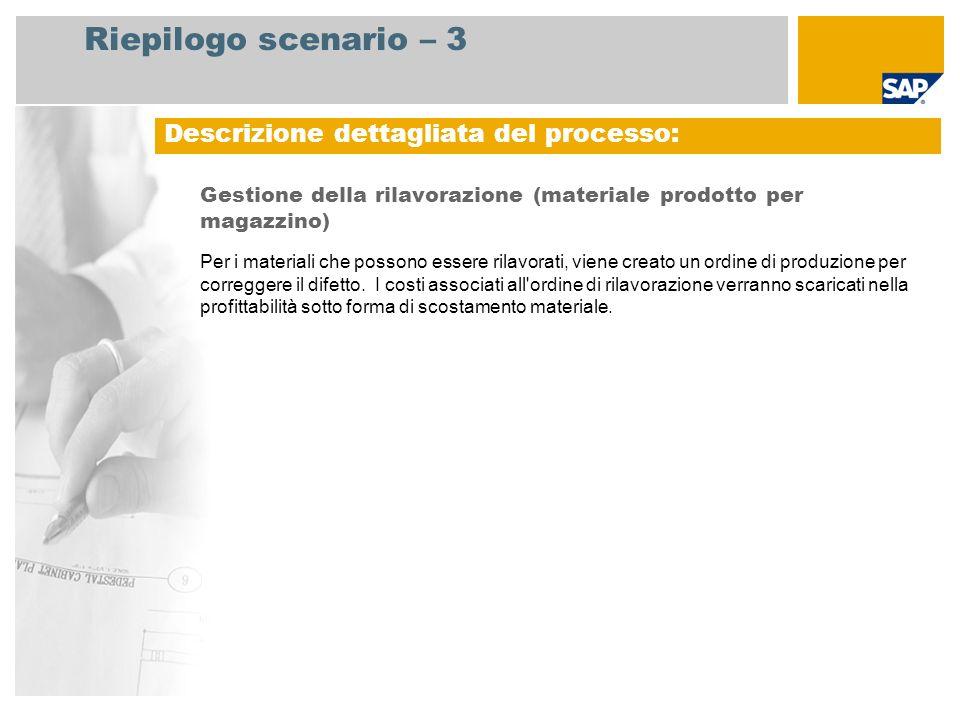 Riepilogo scenario – 3 Gestione della rilavorazione (materiale prodotto per magazzino) Per i materiali che possono essere rilavorati, viene creato un ordine di produzione per correggere il difetto.