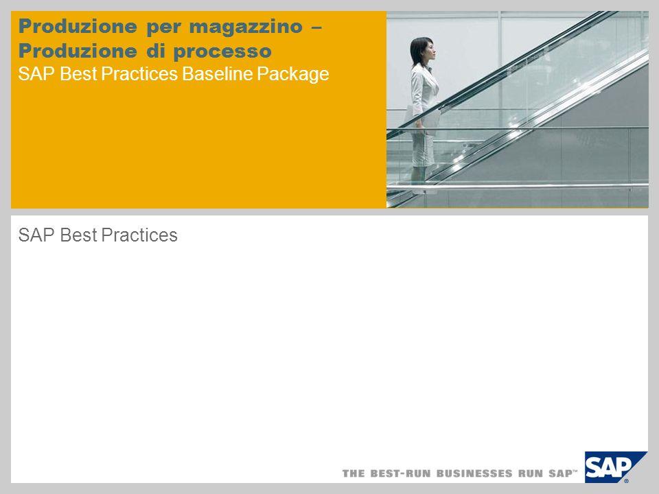Produzione per magazzino – Produzione di processo SAP Best Practices Baseline Package SAP Best Practices