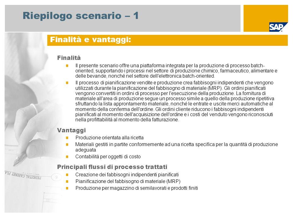 Riepilogo scenario – 1 Finalità Il presente scenario offre una piattaforma integrata per la produzione di processo batch- oriented, supportando i proc