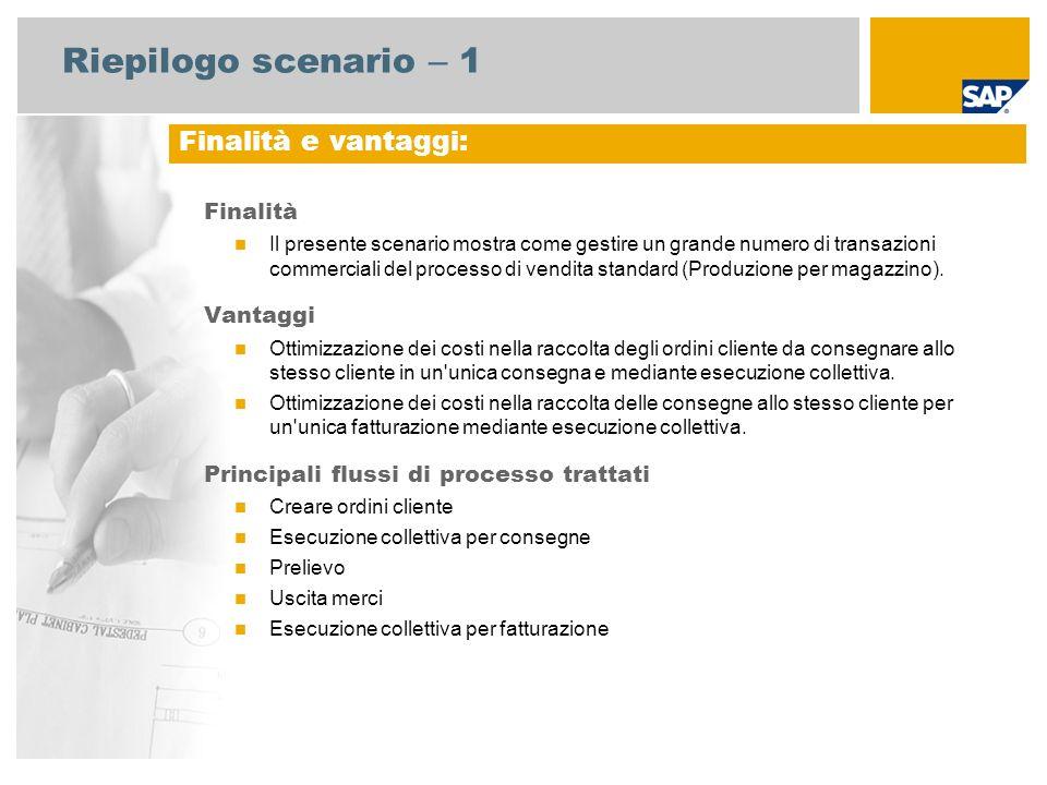 Riepilogo scenario – 1 Finalità Il presente scenario mostra come gestire un grande numero di transazioni commerciali del processo di vendita standard (Produzione per magazzino).