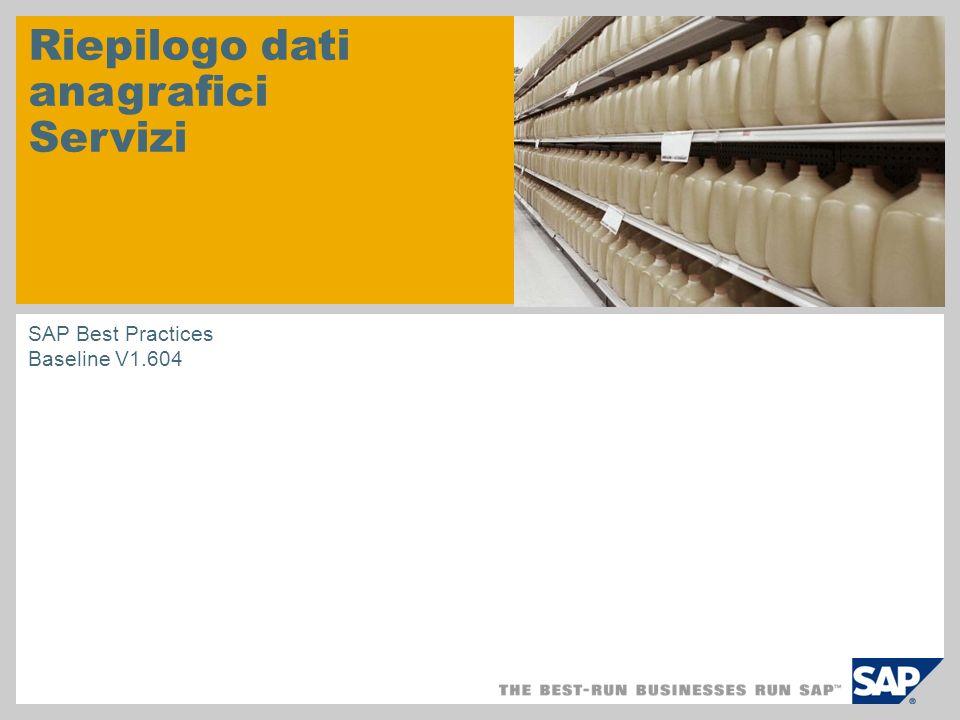 Riepilogo dati anagrafici Servizi SAP Best Practices Baseline V1.604