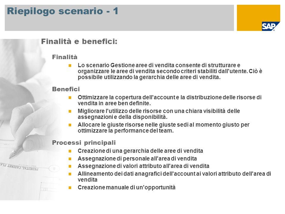 Riepilogo scenario - 2 Si richiede SAP CRM 7.0 Ruoli aziendali coinvolti nei processi Direttore delle vendite Addetto alle vendite Applicazioni SAP necessarie: