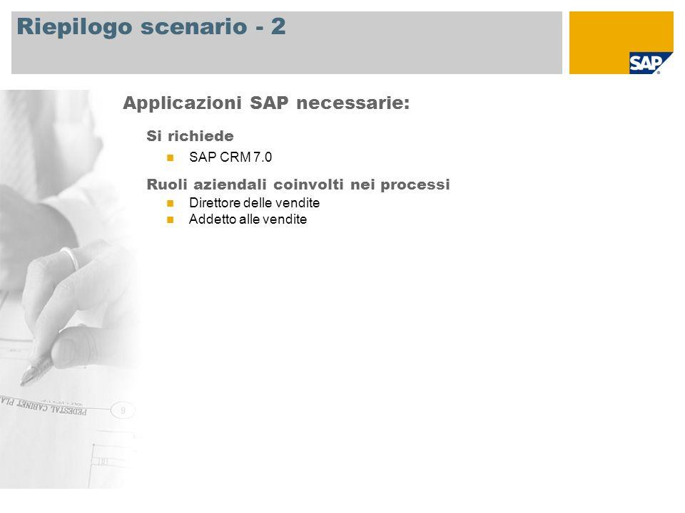 Riepilogo scenario - 2 Si richiede SAP CRM 7.0 Ruoli aziendali coinvolti nei processi Direttore delle vendite Addetto alle vendite Applicazioni SAP ne