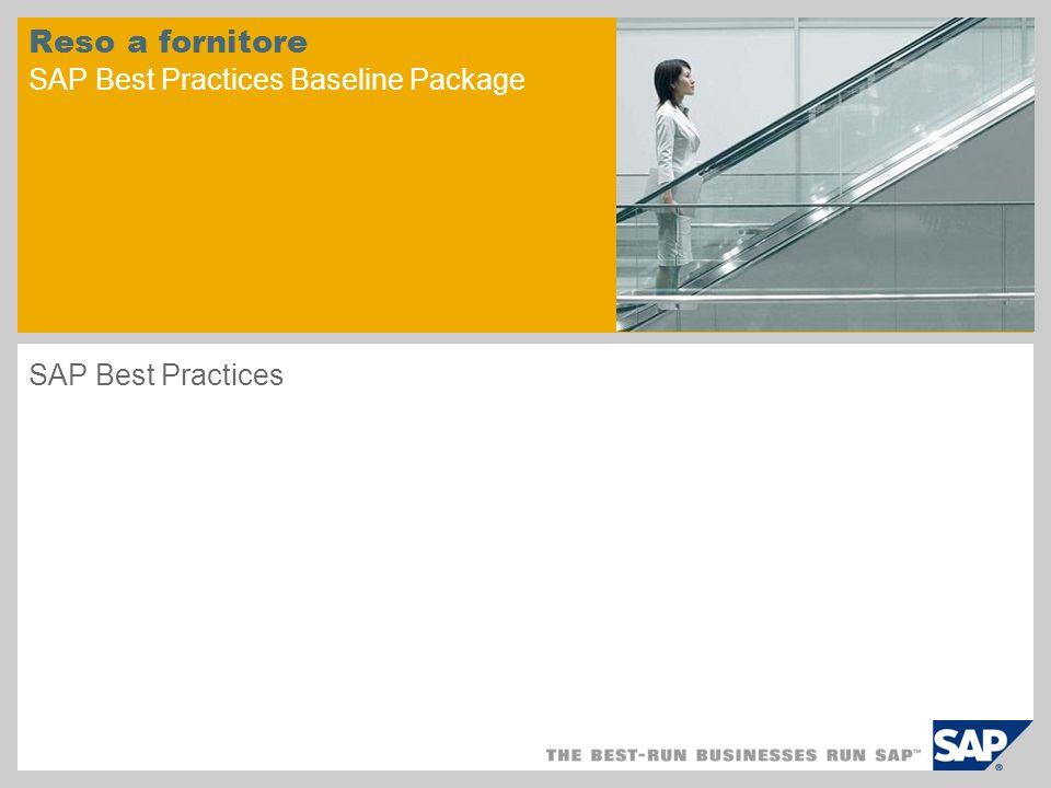 Riepilogo scenario – 1 Finalità Lo scenario si occupa del processo gestionale di restituzione delle merci al fornitore.