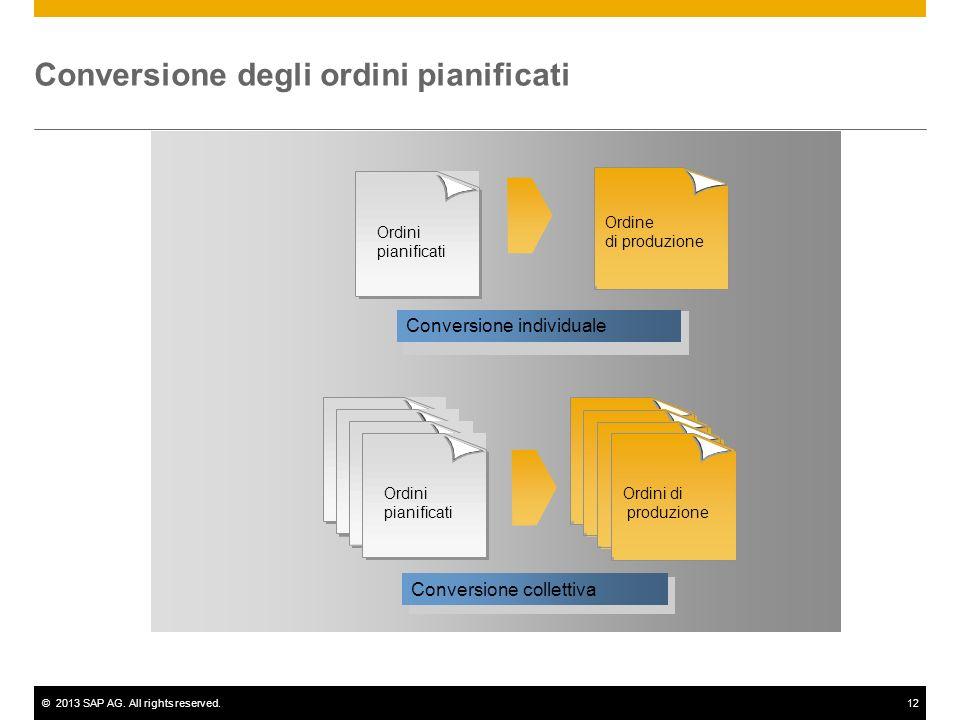 ©2013 SAP AG. All rights reserved.12 Conversione individuale Ordini pianificati Ordini di produzione Conversione collettiva Conversione degli ordini p