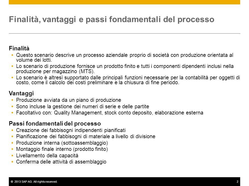 ©2013 SAP AG. All rights reserved.2 Finalità, vantaggi e passi fondamentali del processo Finalità Questo scenario descrive un processo aziendale propr
