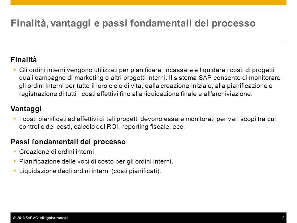 ©2013 SAP AG. All rights reserved.2 Finalità, vantaggi e passi fondamentali del processo Finalità Gli ordini interni vengono utilizzati per pianificar