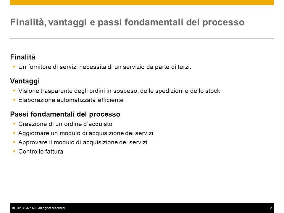 ©2013 SAP AG. All rights reserved.2 Finalità, vantaggi e passi fondamentali del processo Finalità Un fornitore di servizi necessita di un servizio da