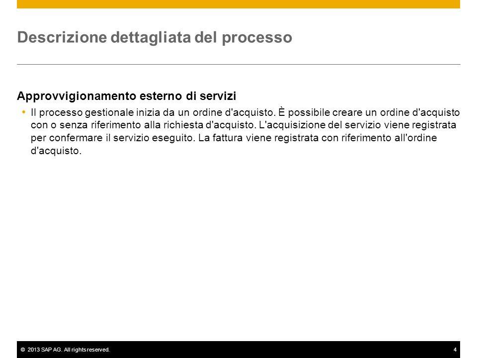 ©2013 SAP AG. All rights reserved.4 Descrizione dettagliata del processo Approvvigionamento esterno di servizi Il processo gestionale inizia da un ord